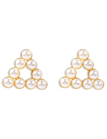Fashion Triangle Hollow Alloy Earrings With Pearl Geometry