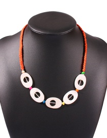 Fashion Orange Resin Hand-woven Rice Bead Rope Necklace