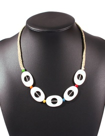 Fashion Khaki Resin Hand-woven Rice Bead Rope Necklace