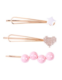 Fashion Pink Pentagram Love Diamond Diamond Pearl Alloy Hair Clip Set