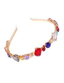 Fashion Irregular Colored Diamonds Headband With Glass Bead Alloy