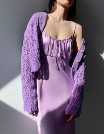 Fashion Purple Textured Knitted Openwork Single-breasted Jacket