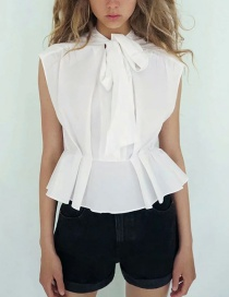 Fashion White Sleeveless Shirt With Bow And Poplin Stitching On The Chest