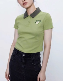 Fashion Green Fruit Embroidered Lapel Contrast Color T-shirt