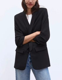Fashion Black Rollable Sleeve Solid Color Blazer