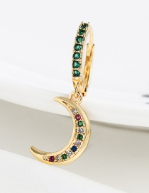 Fashion Green Copper-set Zircon Crescent Earrings