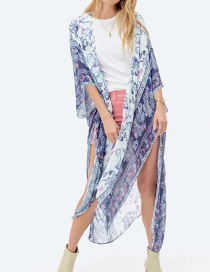 Fashion Violet Printed Chiffon Split Long Shawl Cardigan