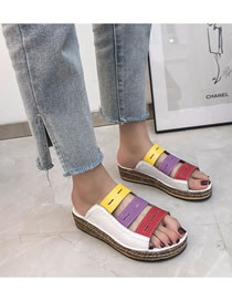 Fashion White Large Size Color Matching Thick Bottom Slope With Fish Mouth Sandals And Slippers