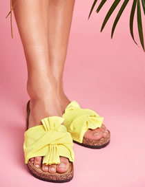 Fashion Yellow Flat Bow Pu Sandals And Slippers