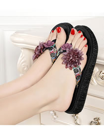 Fashion Black Toe Flower Thick Sole Rubber Sandals