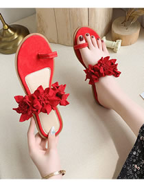 Fashion Red Flat Bottom Flower Slip Toe Plus Size Sandals
