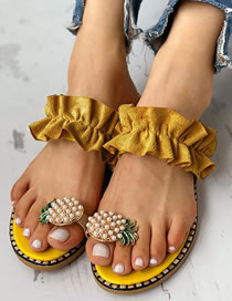 Fashion Yellow Pineapple Rhinestone Pearl Toe Sandals