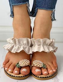 Fashion Beige Pineapple Rhinestone Pearl Toe Sandals