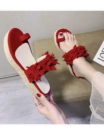 Fashion Red Plus Size Flower Toe Muffin And Hemp Rope Thick Bottom Sandals And Slippers