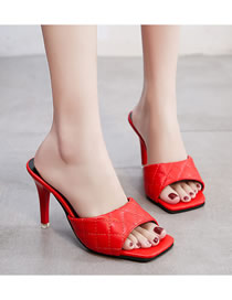 Fashion Red Square Head Fish Mouth Thin Heel Diamond High Heel Sandals