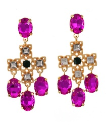 Fashion Gold Color Glass Cross Hollow Alloy Earrings