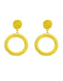 Fashion Yellow Hand Woven Rice Beads Geometric Round Earrings