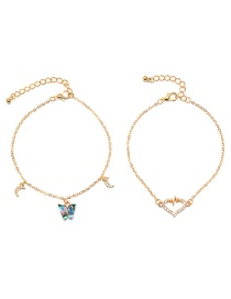 Fashion Gold Color Moon Love Butterfly Diamond Multilayer Anklet