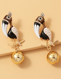 Fashion Black And White Woodpecker Parrot Diamond Drop Earrings