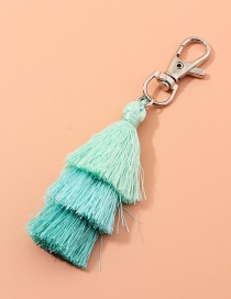 Fashion Blue Multilayer Wire Rope Tassel Contrast Color Alloy Keychain