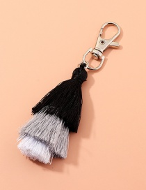 Fashion Black Multilayer Wire Rope Tassel Contrast Color Alloy Keychain