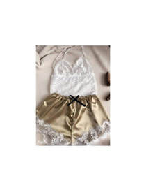 Fashion Golden Lace Transparent Stitching Bow Two-piece Home Pajamas