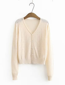 Fashion Apricot Pink V-neck Single Breasted Cutout Sunscreen Knitted Cardigan