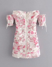 Fashion Pink Floral Strap Shoulder Breasted Buckle Dress