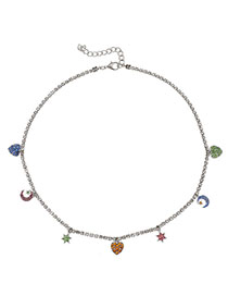 Fashion Color Alloy Diamond Moon Star Love Necklace