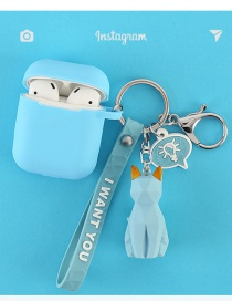 Fashion Blue Cat + Headphone Bag Geometry Dinosaur Apple Wireless Bluetooth Headset Silicone Case