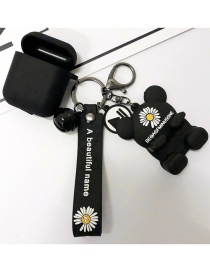 Fashion Bear Stand + Black Earphone Sleeve Small Daisy Printed Animal Wireless Headphone Silicone Case (1st Generation)