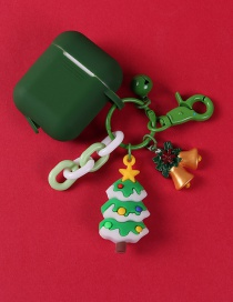Fashion Christmas Tree + Green Earphone Cover Christmas Pendant Apple Wireless Bluetooth Headset Silicone Storage Box
