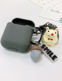 Fashion Gray + Gray Earphone Cover (2nd Generation) Hedgehog Apple Wireless Bluetooth Headset Silicone Case