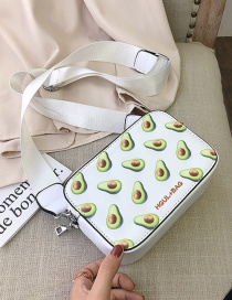 Fashion Avocado White One Shoulder Crossbody Bag With Fruit Print Wide Strap