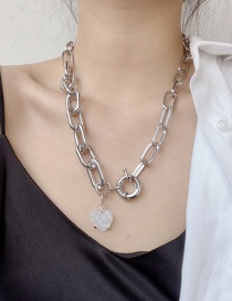 Fashion Silver Heavy Industry Glossy Shell Love Thick Chain Necklace