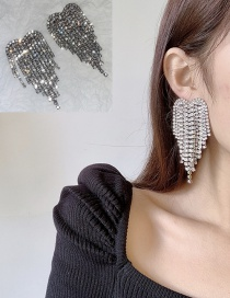 Fashion White Diamond Love Love Tassel Alloy Earrings With Diamonds