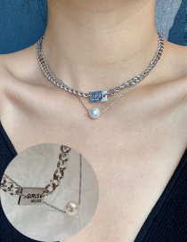 Fashion Silver Stainless Steel Pearl Alphabet Multilayer Necklace