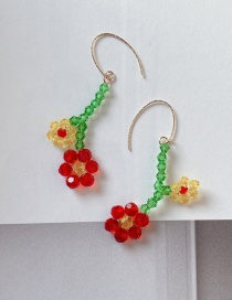 Fashion Two Flowers Hand-woven Resin Flower Earrings