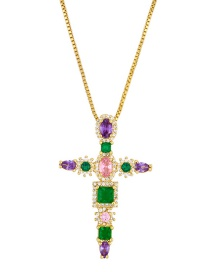 Fashion Cross Small Turtle Cross Copper Inlaid Zircon Necklace