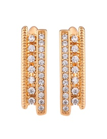 Fashion Rose Gold Geometric Double Row Diamond Earrings