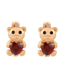 Fashion Red Bear Cubic Zircon Earrings