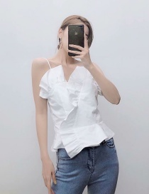 Fashion White Poplin Stitching Strapless Sleeveless Shirt Top