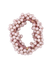 Fashion Pink Hand-woven Pearl Crystal High Elastic Hair Rope