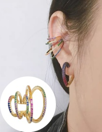 Fashion Golden Copper-encrusted Zircon Multi-ring Hollow Ear Clip