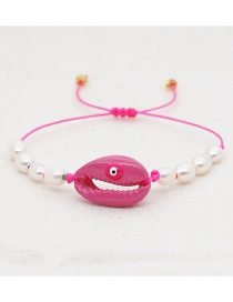Fashion Red Shell Hand-woven Natural Freshwater Pearl Bracelet