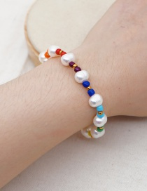 Fashion White Natural Freshwater Pearl Enamel Bracelet
