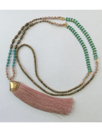 Fashion Pink Tassel Crystal Hand-beaded Woven Rice Bead Necklace