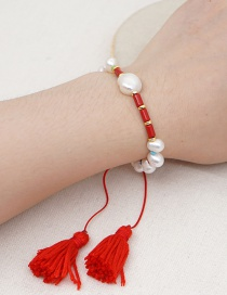 Fashion Red Tassel Enamel Natural Freshwater Pearl Gold Bead Bracelet