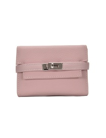 Fashion Pink Multi-card Wallet With Metal Lock