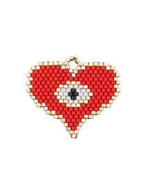 Fashion Red + White Imported Rice Beads Hand-woven Love Eye Jewelry Accessories